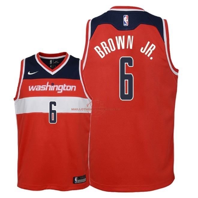 Achat Maillot NBA Enfant Washington Wizards NO.6 Troy Brown Jr Rouge Icon 2018 pas cher
