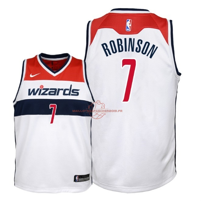 Achat Maillot NBA Enfant Washington Wizards NO.7 Devin Robinson Blanc Association 2018 pas cher