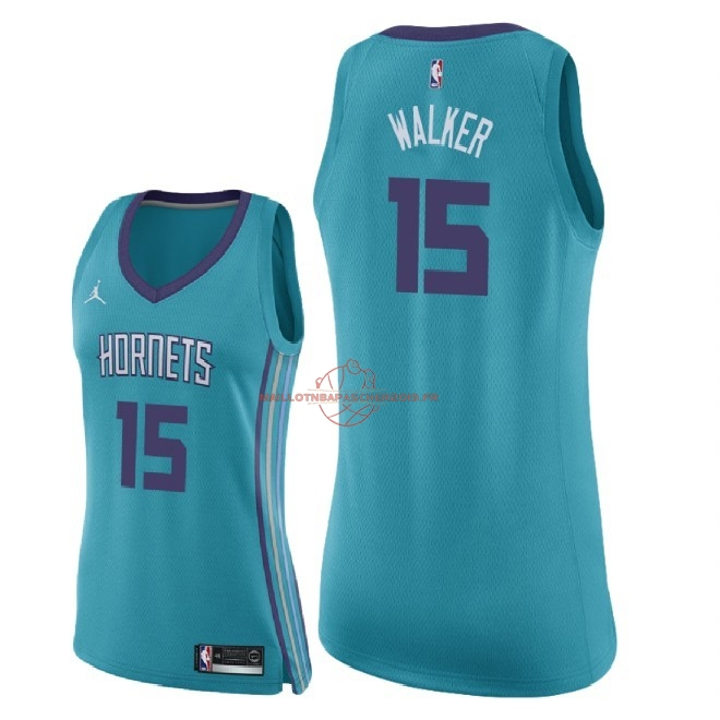 Achat Maillot NBA Femme Charlotte Hornets NO.15 Kemba Walker Vert Icon 2018 pas cher