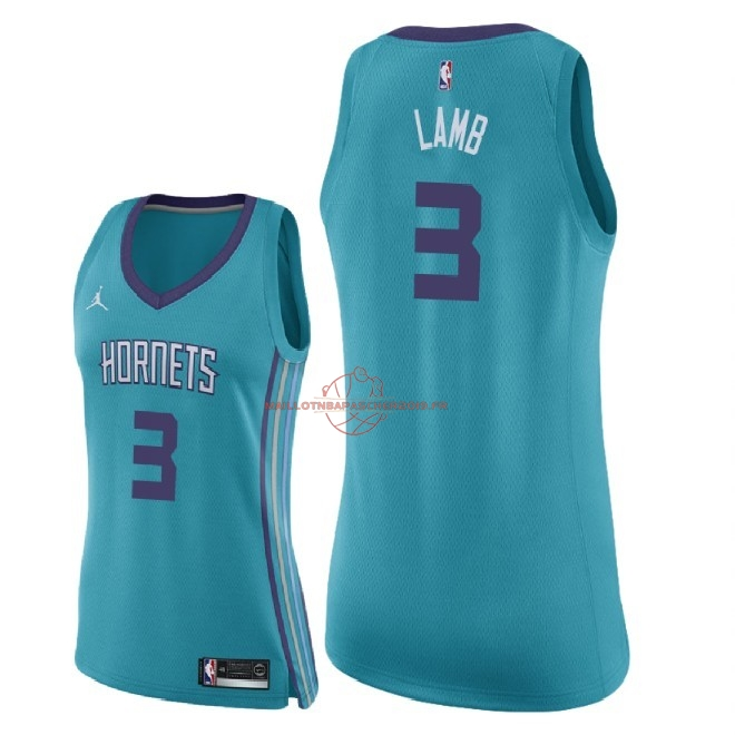 Achat Maillot NBA Femme Charlotte Hornets NO.3 Jeremy Lamb Vert Icon 2018 pas cher