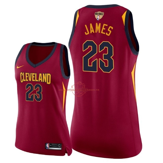 Achat Maillot NBA Femme Cleveland Cavaliers 2018 Final Champions NO.23 LeBron James Rouge Icon Patch pas cher