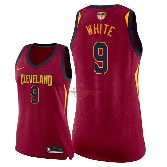 Achat Maillot NBA Femme Cleveland Cavaliers 2018 Final Champions NO.9 Okaro White Rouge Icon Patch pas cher