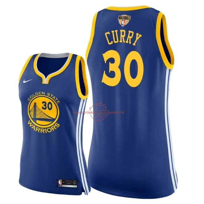 Achat Maillot NBA Femme Golden State Warriors 2018 Final Champions NO.30 Stephen Curry Bleu Icon Patch pas cher