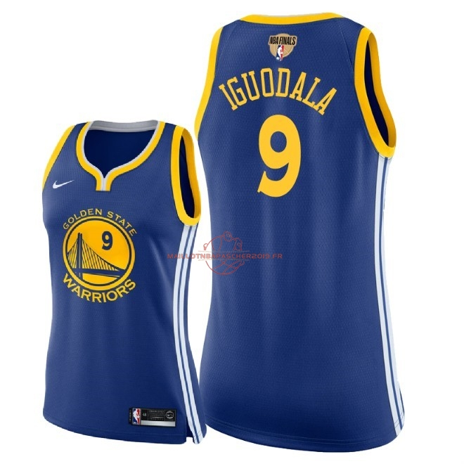 Achat Maillot NBA Femme Golden State Warriors 2018 Final Champions NO.9 Andre Iguodala Bleu Icon Patch pas cher