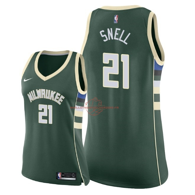 Achat Maillot NBA Femme Milwaukee Bucks NO.21 Tony Snell Vert Icon 2018 pas cher