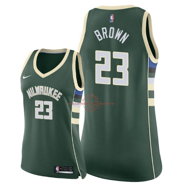 Achat Maillot NBA Femme Milwaukee Bucks NO.23 Sterling Brown Vert Icon 2018 pas cher