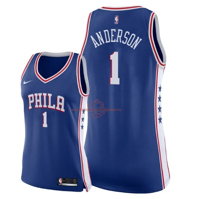 Achat Maillot NBA Femme Philadelphia Sixers NO.1 Justin Anderson Bleu Icon 2018 pas cher