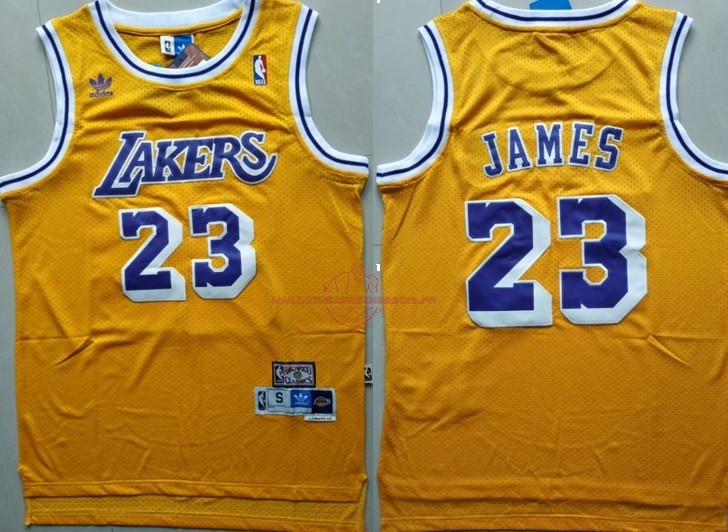 Achat Maillot NBA Los Angeles Lakers NO.23 Lebron James Retro Jaune pas cher
