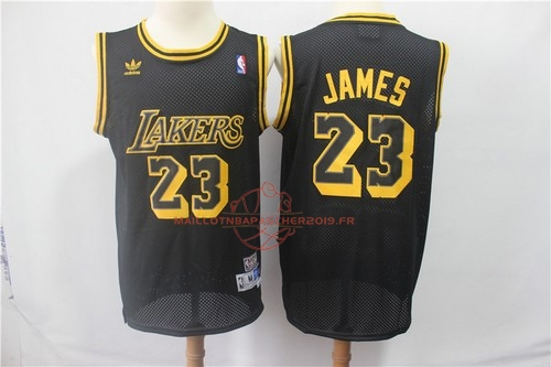 Achat Maillot NBA Los Angeles Lakers NO.23 Lebron James Retro Noir pas cher