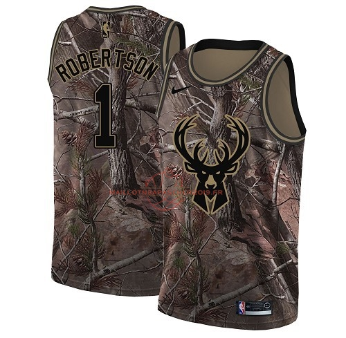 Achat Maillot NBA Milwaukee Bucks NO.1 Oscar Robertson Camo Swingman Collection Realtree 2018 pas cher