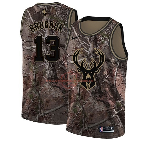 Achat Maillot NBA Milwaukee Bucks NO.13 Malcolm Brogdon Camo Swingman Collection Realtree 2018 pas cher