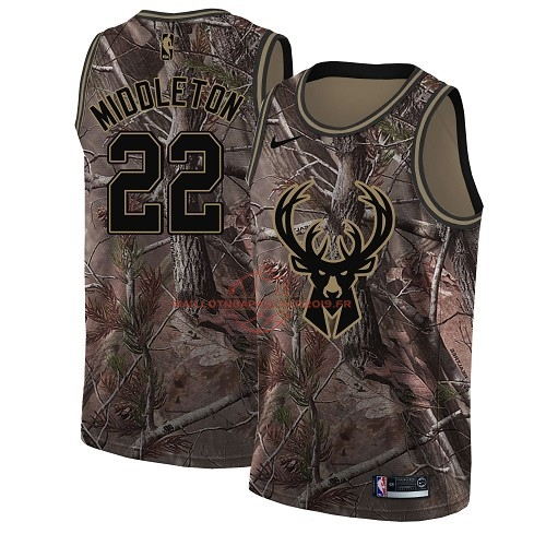 Achat Maillot NBA Milwaukee Bucks NO.22 Khris Middleton Camo Swingman Collection Realtree 2018 pas cher