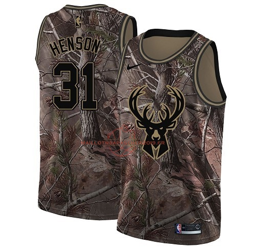 Achat Maillot NBA Milwaukee Bucks NO.31 John Henson Camo Swingman Collection Realtree 2018 pas cher