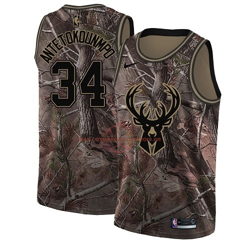 Achat Maillot NBA Milwaukee Bucks NO.34 Giannis Antetokounmpo Camo Swingman Collection Realtree 2018 pas cher