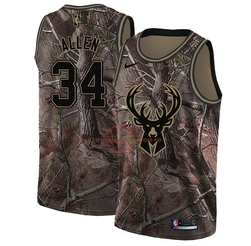 Achat Maillot NBA Milwaukee Bucks NO.34 Ray Allen Camo Swingman Collection Realtree 2018 pas cher