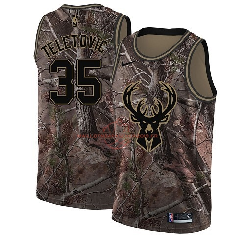Achat Maillot NBA Milwaukee Bucks NO.35 Mirza Teletovic Camo Swingman Collection Realtree 2018 pas cher