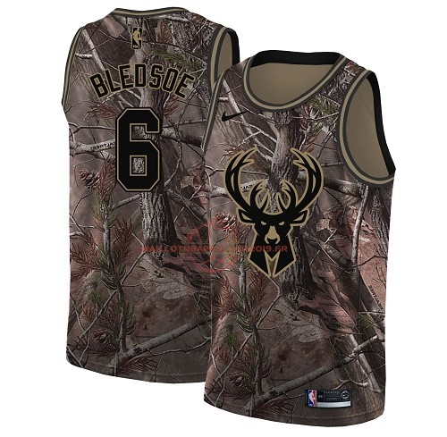 Achat Maillot NBA Milwaukee Bucks NO.6 Eric Bledsoe Camo Swingman Collection Realtree 2018 pas cher