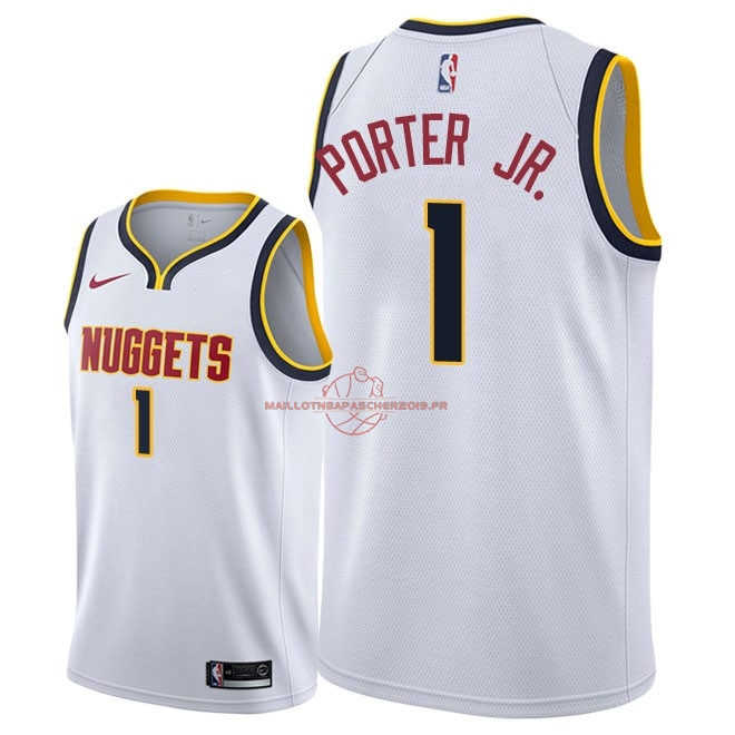 Achat Maillot NBA Nike Denver Nuggets NO.1 Michael Porter Jr Blanc Association 2018-19 pas cher