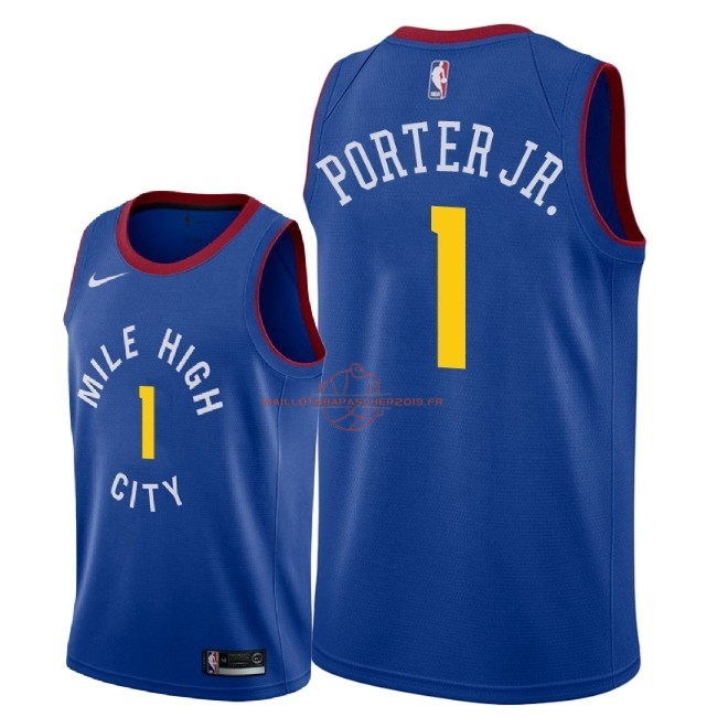 Achat Maillot NBA Nike Denver Nuggets NO.1 Michael Porter Jr Bleu Statement 2018-19 pas cher
