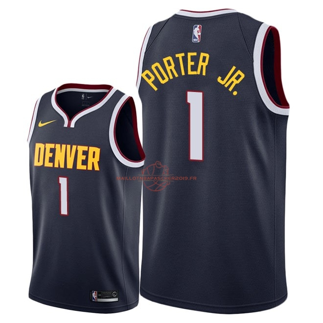 Achat Maillot NBA Nike Denver Nuggets NO.1 Michael Porter Jr Marine Icon 2018-19 pas cher