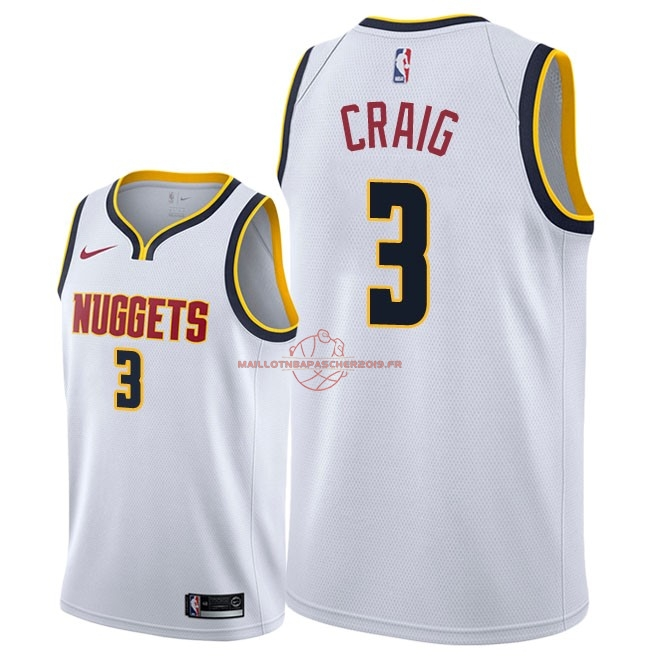 Achat Maillot NBA Nike Denver Nuggets NO.3 Torrey Craig Blanc Association 2018-19 pas cher