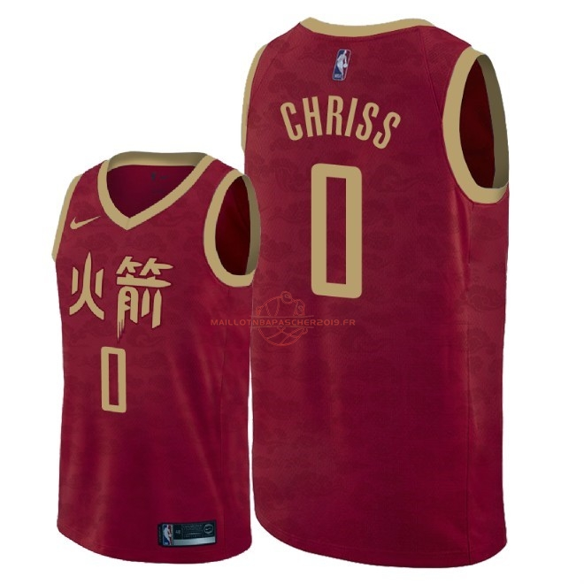 Achat Maillot NBA Nike Houston Rockets NO.0 Marquese Chriss Nike Rouge Ville 2018-19 pas cher