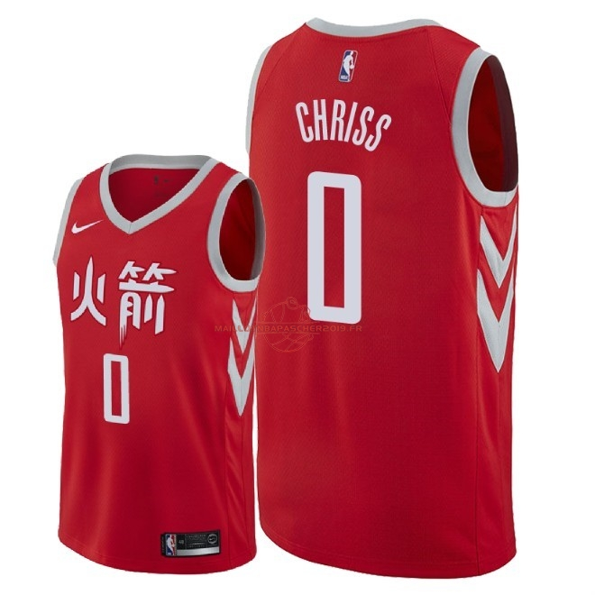 Achat Maillot NBA Nike Houston Rockets NO.0 Marquese Chriss Nike Rouge Ville 2018 pas cher