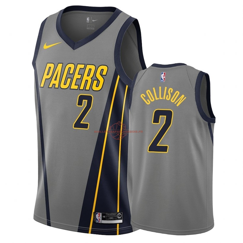 Achat Maillot NBA Nike Indiana Pacers NO.2 Darren Collison Nike Gris Ville 2018-19 pas cher