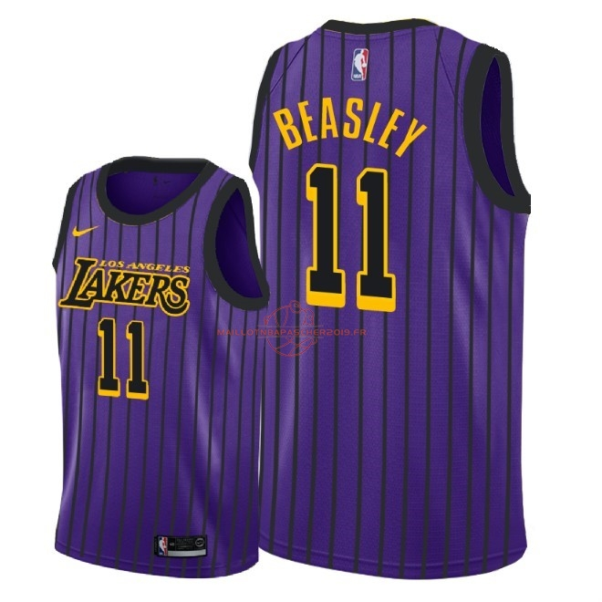 Achat Maillot NBA Nike Los Angeles Lakers NO.11 Michael Beasley Nike Pourpre Ville 2018-19 pas cher