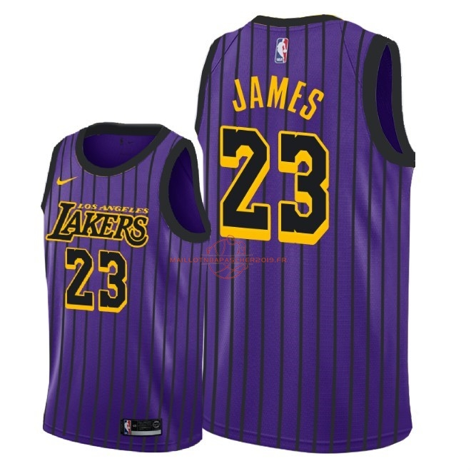 Achat Maillot NBA Nike Los Angeles Lakers NO.23 Lebron James Nike Pourpre Ville 2018-19 pas cher