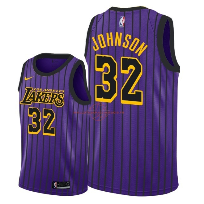 Achat Maillot NBA Nike Los Angeles Lakers NO.32 Magic Johnson Nike Pourpre Ville 2018-19 pas cher
