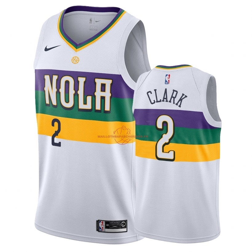 Achat Maillot NBA Nike New Orleans Pelicans NO.2 Ian Clark Nike Blanc Ville 2018-19 pas cher