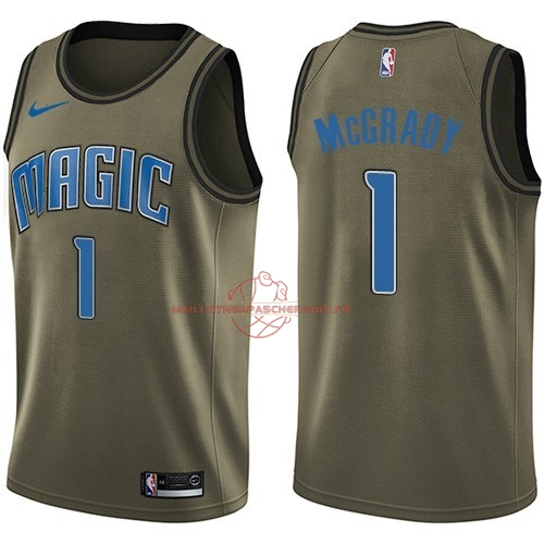 Achat Maillot NBA Service De Salut Orlando Magic NO.1 Tracy Mcgrady Nike Armée verte 2018 pas cher