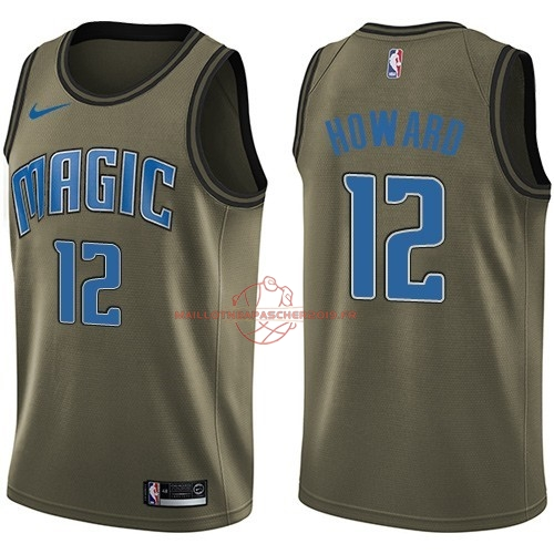 Achat Maillot NBA Service De Salut Orlando Magic NO.12 Dwight Howard Nike Armée verte 2018 pas cher