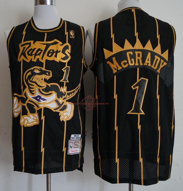 Achat Maillot NBA Toronto Raptors NO.1 Tracy McGrady Retro Or Noir 1998-99 pas cher