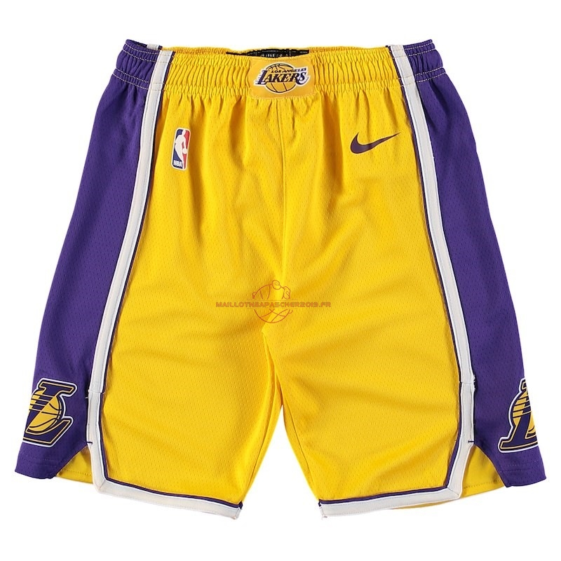 Achat Short Basket Enfant Los Angeles Lakers Nike Jaune 2018 pas cher
