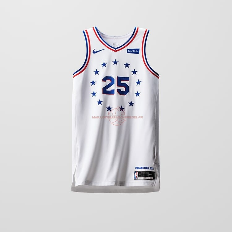 Achat Maillot Earned Edition Philadelphia Sixers NO.25 Ben Simmons Blanc 2018-19 pas cher