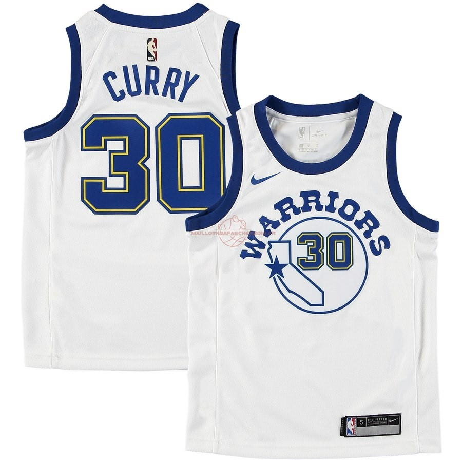 Achat Maillot NBA Enfant Golden State Warriors NO.30 Stephen Curry Blanc Hardwood Classics pas cher