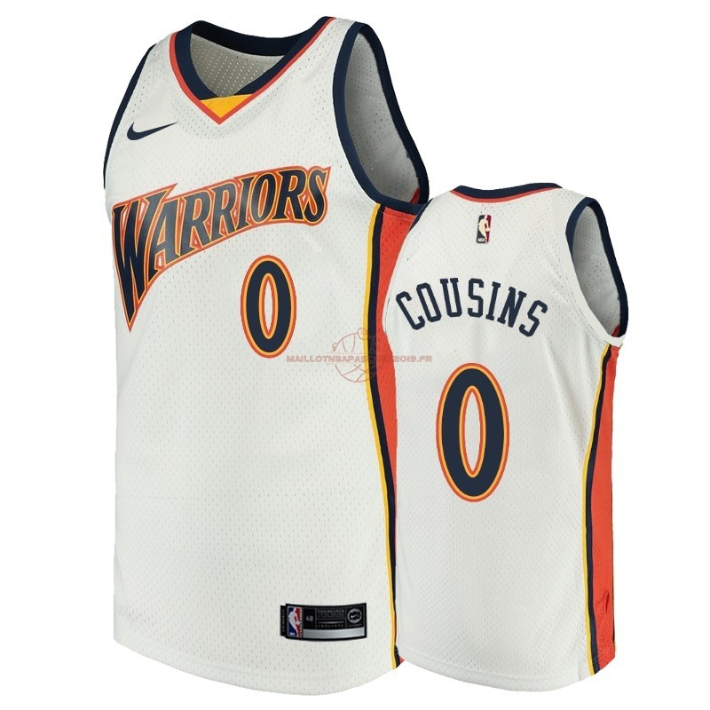 Achat Maillot NBA Golden State Warriors NO.0 DeMarcus Cousins Blanc Throwback pas cher