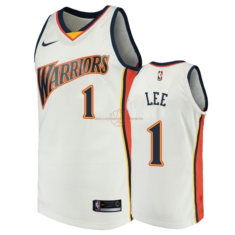 Achat Maillot NBA Golden State Warriors NO.1 Damion Lee Blanc Throwback pas cher