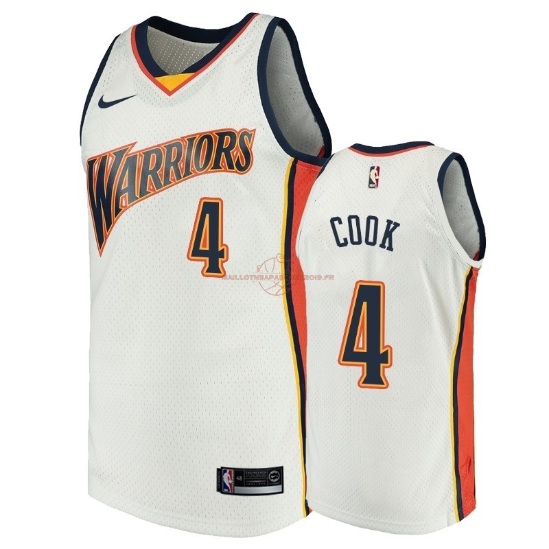 Achat Maillot NBA Golden State Warriors NO.4 Quinn Cook Blanc Throwback pas cher