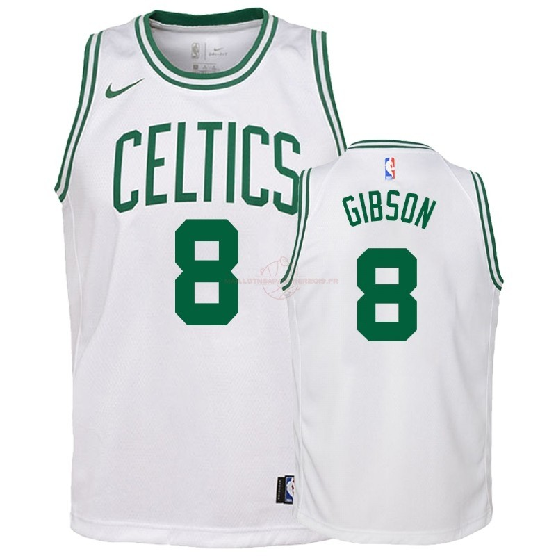 Achat Maillot NBA Enfant Boston Celtics NO.8 Jonathan Gibson Blanc Association 2018-19