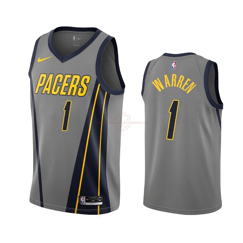 Achat Maillot NBA Nike Indiana Pacers NO.1 T.J. Warren Gray Nike Gris Ville 2019-20