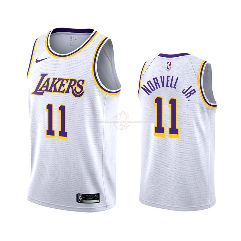 Achat Maillot NBA Nike Los Angeles Lakers NO.11 Zach Norvell Jr Blanc Association 2019-20