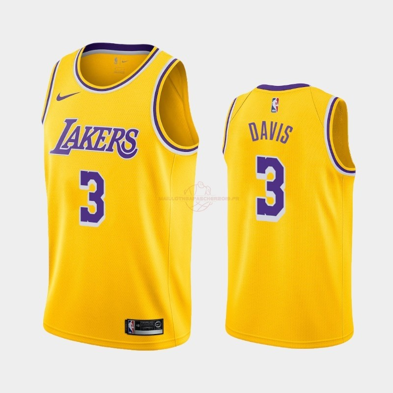 Achat Maillot NBA Nike Los Angeles Lakers NO.3 Anthony Davis Jaune Icon 2019-20