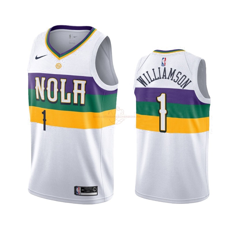 Achat Maillot NBA Nike New Orleans Pelicans NO.1 Zion Williamson Nike Blanc Ville 2019-20