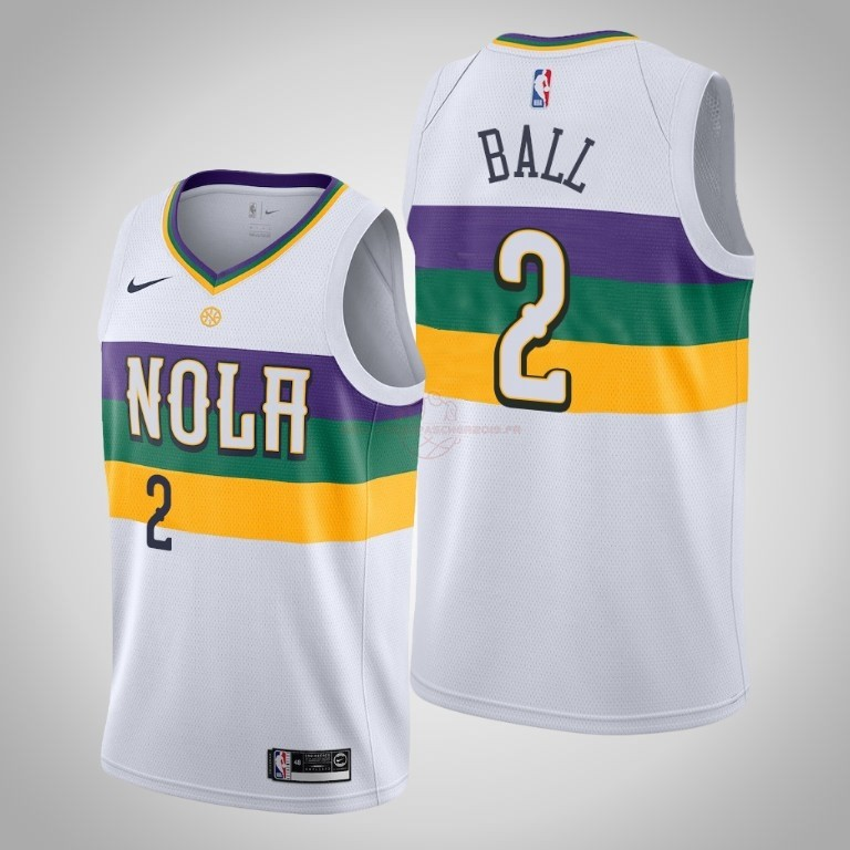 Achat Maillot NBA Nike New Orleans Pelicans NO.2 Lonzo Ball Blanc Ville 2019-20
