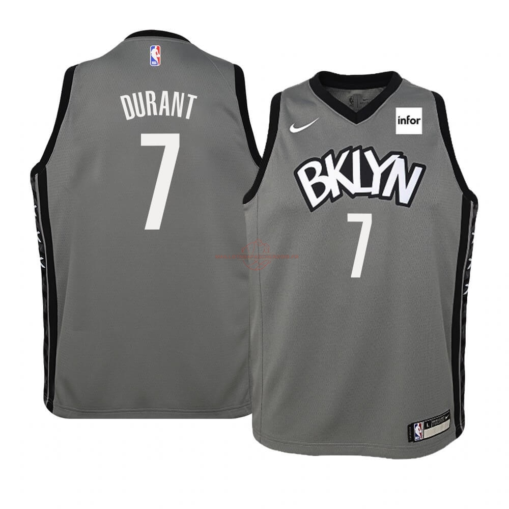 Achat Maillot NBA Enfant Brooklyn Nets NO.7 Kevin Durant Gris Statement 2019-20 pas cher