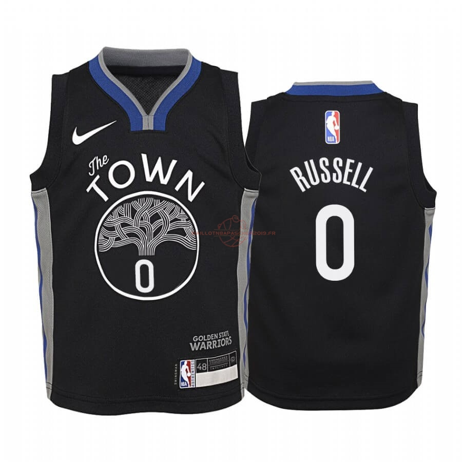 Achat Maillot NBA Enfant Golden State Warriors NO.0 D'Angelo Russell Nike Noir Ville 2019-20 pas cher