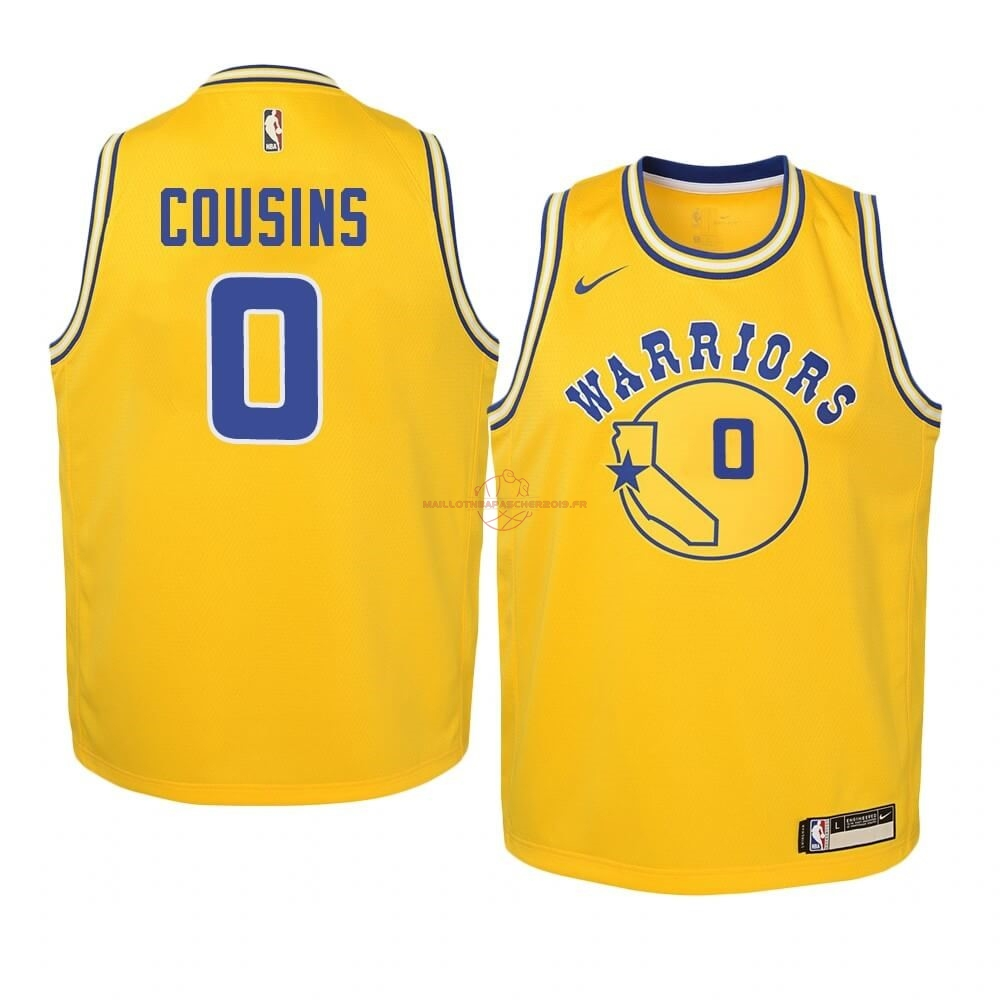 Achat Maillot NBA Enfant Golden State Warriors NO.0 DeMarcus Cousins Or Hardwood Classics 2019-20 pas cher